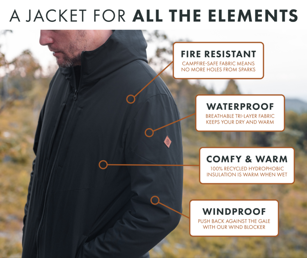 A Revolutionary Campfire-Safe Puffy Jacket An Epic Minimalist Outdoor Jacket – Fire-Resistant, Waterproof & Windproof – Premium Materials